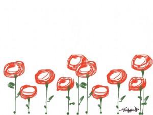 web制作、webデザイン、バナー広告、ネットショップのフリー素材:大人可愛い赤い花(5輪)のイラスト(640×480pix)