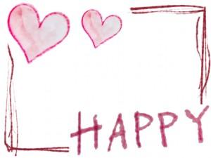 フリー素材:フレーム;ガーリーな水彩色鉛筆のハートと手書き文字「HAPPY」とラフな線の飾り枠
