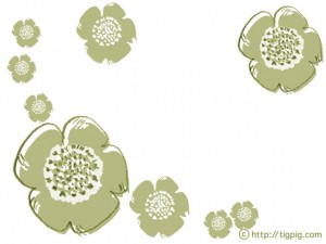 フリー素材:フレーム;北欧風のレトロモダンな芥子色のケシの花;640×480pix