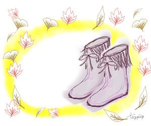 ブーツと落ち葉のガーリーイラストのフリー素材;300×250pix