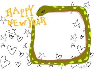 ガーリーなヘビ(巳)とHAPPY NEW YEARの手書き文字とハートと星のフレームのフリー素材;640×480pix