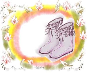 大人可愛いブーツと落ち葉とドットのイラストのバナー広告のフリー素材:300×250pix