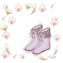 紅葉の落ち葉とガーリーなブーツのかわいいイラストのフリー素材:250pix × 250pix