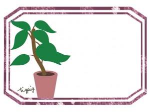 大人可愛いHP制作に使える観葉植物とレッドブラウンのラベル風のフレーム
