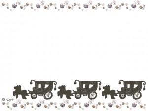大人可愛い手描きの馬車とキラキラのラインのフレーム:640×480pix