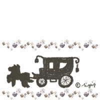 文字を加えて加工しやすいキラキラと馬車のイラストのアイコン:200×200pix