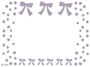 大人可愛いパステルカラーの紫のリボンとドットのフレームのフリー素材:640×480pix