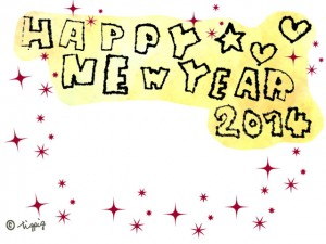 HAPPY NEW YEAR 2014の手描き文字とキラキラのフレーム(黄×赤×黒ver.):640×480pix