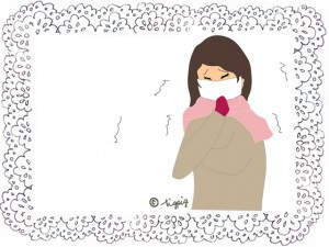マスクをしている女性のイラストとレースのフレーム