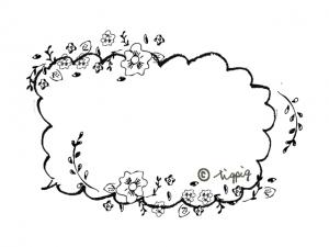 モノトーンの小花の吹出し:640×480pix