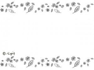 ナチュラルな小花と葉っぱのラインのフレーム:640×480pix