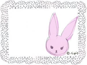 落書きみたいな兎のイラストと大人可愛いレースのフレーム:640×480pix