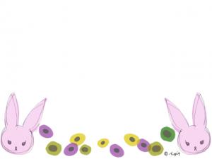 シンメトリーの兎のイラストと北欧風の花のフレーム:640×480pix