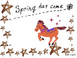 大人可愛い馬とSpring has come の手描き文字のフレーム:640×480pix