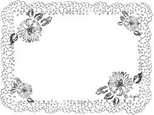 モノトーンの手描きのレースと花のフレーム:640×480pix