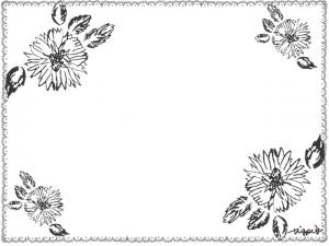 モノトーンのスタンプみたいな花とレースのフレーム:640×480pix