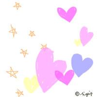 サインペンの落書き風の星とハートのテクスチャ:200×200pix