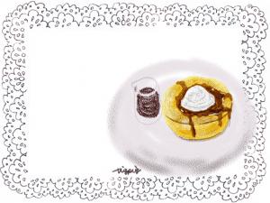ふわふわ系パンケーキのイラスト:640×480pix