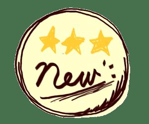 三ツ星とNewの手描き文字のラベル風イラスト:300×250pix