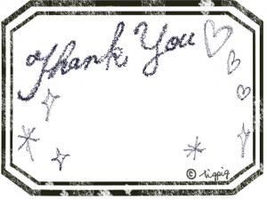 Thank youの手描き文字とモノトーンのアンティークラベル風枠:640×480pix