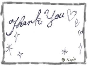 大人可愛いThank youの手描き文字とハートとキラキラと鉛筆風枠のフレーム:640×480pix