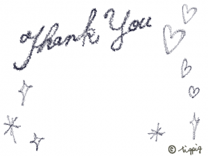 Tank you の手描き文字とハートとキラキラのフレーム:640×480pix