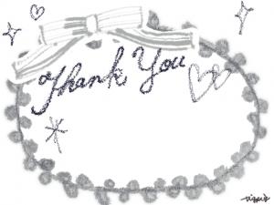 Thank Youの手描き文字とリボンのフレーム:640×480pix
