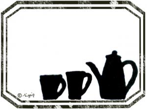マグカップとポットのシルエットのイラストとラベル風のフレーム:640×480pix