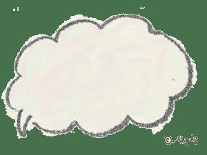 ポップな手描きのふわふわのフキダシ(ベージュ):640×480pix
