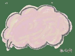 ポップな手描きのふわふわのフキダシ(ピンク):640×480pix