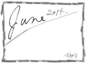 June 2014の手描き文字とラフな鉛筆のラインのフレーム:640×480pix
