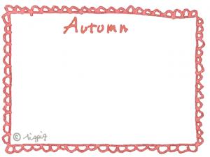 大人可愛い水彩風のAutumnの手描き文字とレースの横フレーム:640×480pix