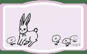 兎と北欧風の花のピンクのラベル風フレーム-no02