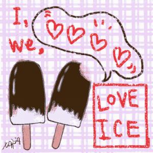 夏の無料素材-チョコレートの棒アイスとI LOVE ICEの手書き文字とフキダシ-チェック背景;400×400pix