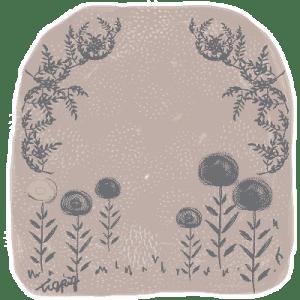 ヨーロッパの絵本のような北欧風の花と葉っぱのフレーム(グレー):400×400pix