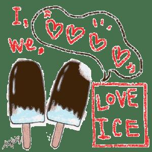 夏の無料素材-チョコレートの棒アイスとI LOVE ICEの手書き文字とフキダシ-3点:400×400pix