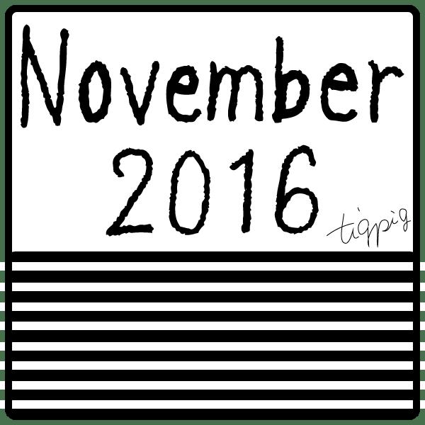 11月のオンラインショップ制作に使えるNovember 2016 とストライプの四角いラベル素材:600×600pix