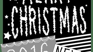 クリスマスに使えるMERRY CHRISTMAS 2016 NEWの手書き文字の四角いラベルのwebデザイン素材:600×600pix