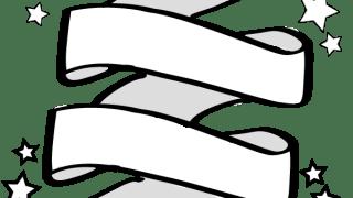 ひらめくリボン(旗)のイラストと星のwebデザイン素材:600×600pix