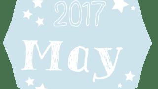 【2017年5月】2017 May の手書き文字と星のラベル<多角形><ペールブルー>:のweb素材600×600pix