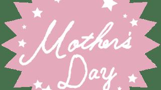 【母の日】Mother's dayの手書き文字と星のギザギザのラベル素材<ピンク>:600×600pix