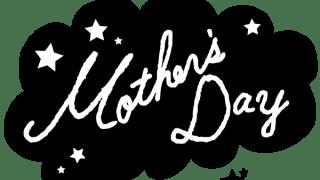 【母の日】Mothe's Dayのの手書き文字と星のモノトーンのフキダシ素材<黒>