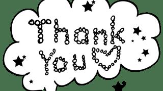【ギフトの文字】Thank youの手書き文字と星のフキダシ素材<モノトーン>
