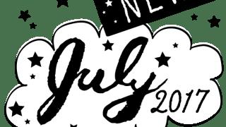 NEW July 2017の手書き文字と星のモノトーンのフキダシ素材:600×600pix