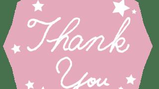 【ギフトの文字】Thank youの手書き文字と星の多角形のラベル素材<ペールピンク>:600×600pix