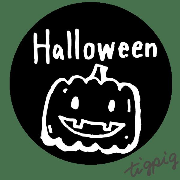 ハロウィンに使えるHalloweenの手書き文字とモノトーンのカボチャのイラストのwebデザイン素材(丸形):600×600pix