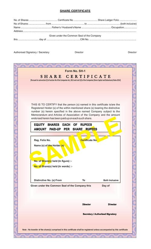 Share Certificate Form SH-1 in Ghaziabad, Uttar Pradesh - Classique - Company Share Certificates