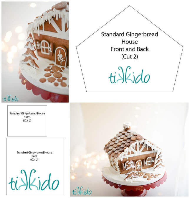 Standard Gingerbread House Free Printable Template Tikkido