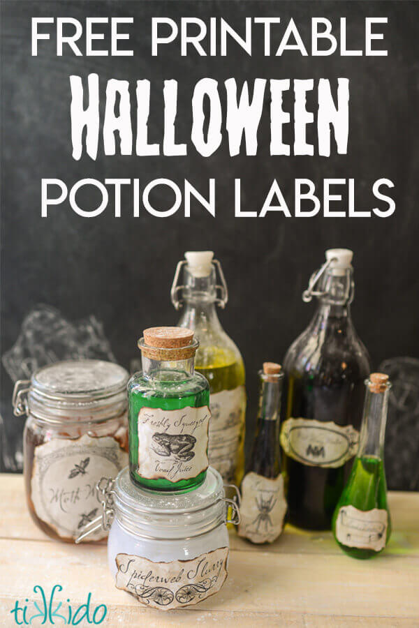 Creepy Potions Bottles with Free Printable Labels and a Halloween