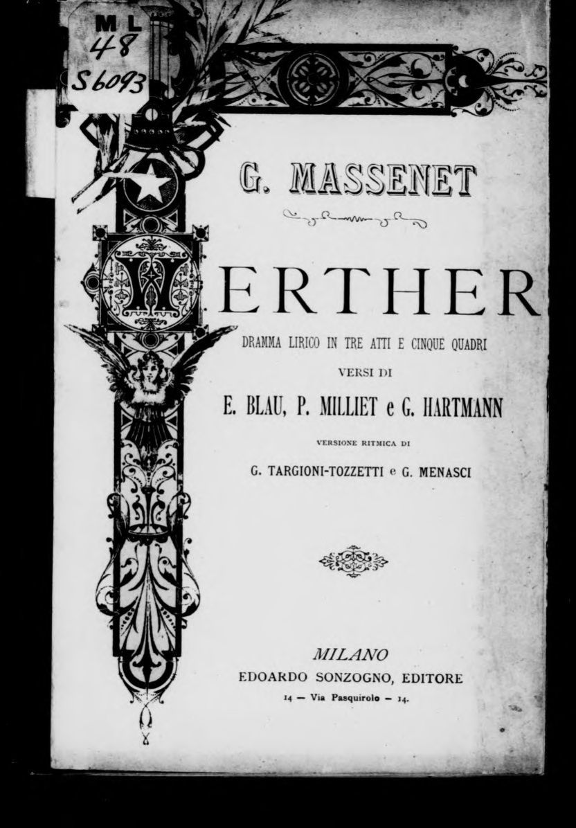 Hartmann Trento Werther Libretto Italian Library Of Congress